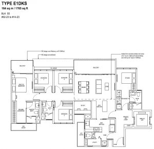 The Tapestry Floor Plan TYPE E1DKS